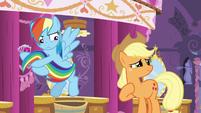 Rainbow Dash pulls her tail away S5E7