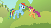 Rainbow and Scootaloo in the air S5E17