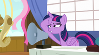 Twilight Sparkle squints at something far away S7E22
