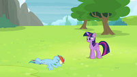 Rainbow Dash lying in the grass S4E10