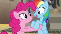 Rainbow Dash tells Pinkie Pie what happens S7E18