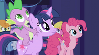 Twilight, Pinkie, and Spike awaiting for the celebration S1E01