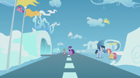 Twilight and Spike surrounded by Pegasi S5E25