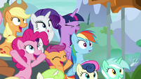 Main ponies and Scootaloo cheer for Lightning S8E20