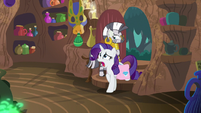 Rarity enters Zecora's house while yelling S8E11