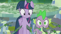 Twilight and Spike held at spear-point S5E25