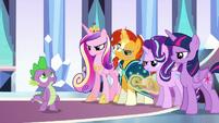 Ponies look angry as Spike sings S6E16