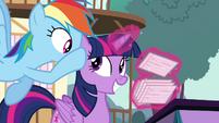 Rainbow Dash whispers in Twilight's ear S4E16