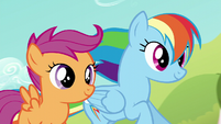 Rainbow and Scootaloo racing together S5E17