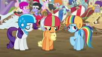 Rarity, AJ, and Rainbow feeling ashamed S6E14