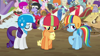 Rarity, AJ, and Rainbow feeling ashamed S6E14