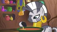 Zecora stirring soup in a cauldron S7E19