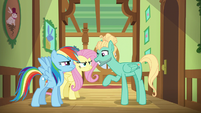 Zephyr winking at Fluttershy and Rainbow S6E11