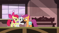 Apple Bloom and Sweetie extend hooves to Scootaloo S9E12