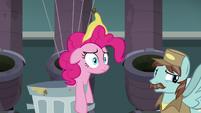 Pinkie Pie stunned; Janitor Pony backs away slowly S7E23
