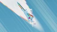 Rainbow Dash about to break sound barrier S5E25