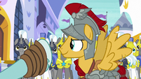 Rockhoof pointing at Flash's brigade S8E21