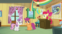 Sweetie Belle and Scootaloo looks at Apple Bloom S5E04