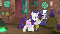 Zecora leads Rarity away from Spike S8E11