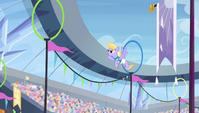 Cloud Kicker flying through rings S4E24