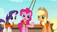 Pinkie Pie inviting Twilight for a group hug S6E22