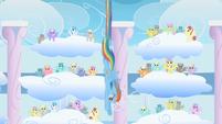 Rainbow Dash diving Derpy Hooves clones S1E16