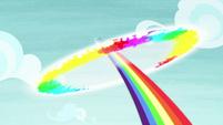 Rainbow Dash flies off with a sonic rainboom S8E7