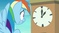Rainbow Dash looking at the clock S8E5