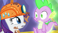 Rarity --But remember that rotten Garble---; Spike's pupils shrink S6E5