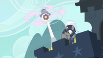 Royal guard saluting to ponies below S9E4
