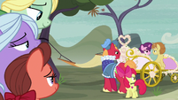 Big Mac and Apple Bloom watch Sugar Belle and Feather ride away S7E8