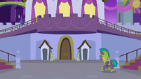Guard Chrysalis approaches the castle S9E17