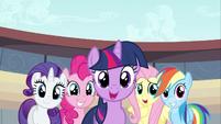 Main six minus Applejack looking happy S02E14