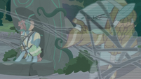Meadowbrook and Rockhoof caught in the Pony of Shadows' vines S7E25