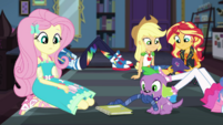 Notebook lands in front of Fluttershy and Spike EGDS6