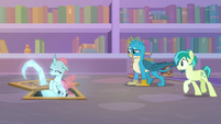 Ocellus hovers down into the caverns S8E22