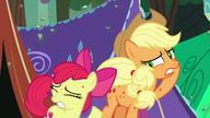 S07E16 Applejack i Apple Bloom próbują odpędzić latające pająki