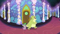 Spike and Sludge in the castle corridors S8E24