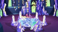 Twilight, Celestia, and Spike in the throne room S7E1