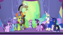 Twilight, Discord, and friends looking at ceremony crowd S7E1