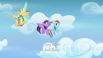 Twilight and Dash watch cadets loop through the air S6E24