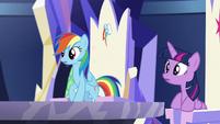 Twilight and Rainbow sees Pinkie go back S5E19