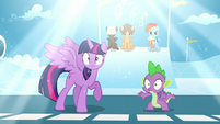 A bright light shines above Twilight and Spike S5E26