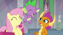 Fluttershy, Spike, and Smolder super excited S9E9