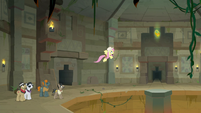 Fluttershy flying up to the Talisman S9E21