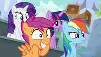 Main ponies and Scootaloo watching the show S8E20