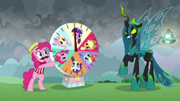 Pinkie presents wheel game to Chrysalis S9E25