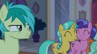 Sandbar annoyed by chatting mares S8E25