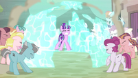 Starlight pushes ponies back with barrier S5E2
