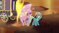 Trixie shields Starlight from flame geyser S8E19